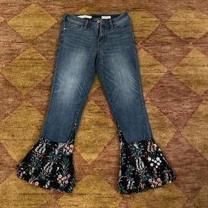 Pilcro crop flare tulle trim jeans sz 25